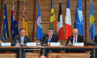 Lors de la table ronde qui s'est déroulée le 4 mai à la CPS avec Jean-Yves Le Drian, Philippe Germain a également agi en tant que président en exercice de la conférence de la Communauté du Pacifique.