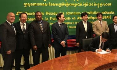 La Nouvelle-Calédonie, représentée par Cédric Chan Yone (à gauche), conseiller francophonie au cabinet de Bernard Deladrière, a participé à la réunion du réseau des structures et des institutions nationales en charge de la francophonie en Asie-Pacifique.