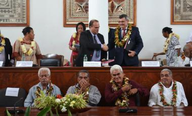 Les présidents de l'Assemblée territoriale et du gouvernement ont signé une déclaration relative au renforcement de la coopération entre Wallis-et-Futuna et la Nouvelle-Calédonie le 25 mars.