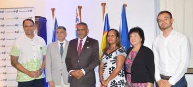From left to right: Craig Strong, President and CEO of Investment Fidji, René Consolo, Chargé dAffaires at the French Embassy in Fiji, Faiyaz Koya, Fijian Minister for Trade, Tourism and Transportation, Rose Wete, Official Representative of New Caledonia