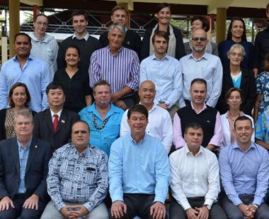 Le président du gouvernement, Thierry Santa, entouré des membres du comité de pilotage de PROTEGE, à la CPS mercredi 17 juillet.