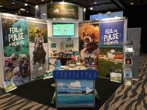 Le stand Nouvelle-Calédonie à la Pacific Exposition 2019 à Auckland, du 11 au 14 juillet.