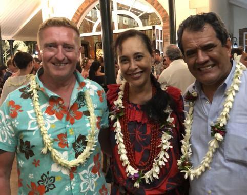 Édouard Fritch, président de la Polynésie française, Téa Frogier, ministre en charge du numérique et Michel Maes, conseiller chargé du développement de l'économie numérique au gouvernement de la Nouvelle-Calédonie (de d. à g.).