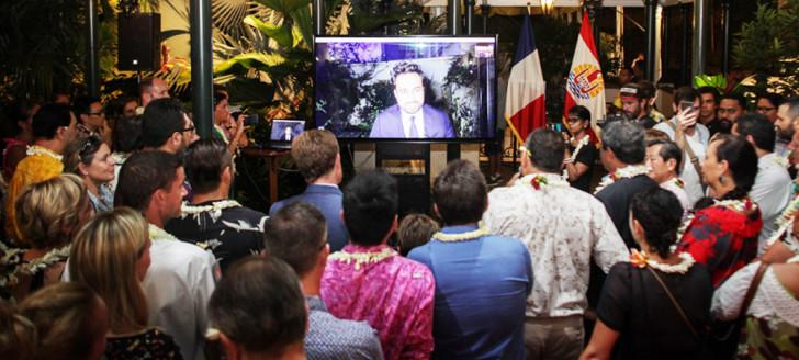 Le secrétaire d'État chargé du numérique, Mounir Mahjoubi, est intervenu en visioconférence lors de la clôture du Digital Festival Tahiti (© Digital Festival Tahiti/Greg Boissy).