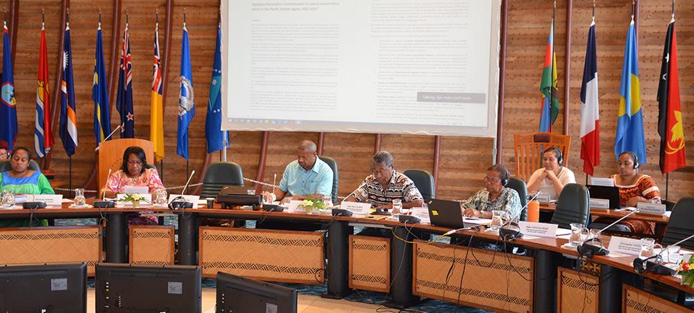 Jean-Pierre Djaïwé, membre du gouvernement en charge des questions environnementales, a eu l'honneur de lire la Déclaration de Vemööre, depuis la Communauté du Pacifique à Nouméa.