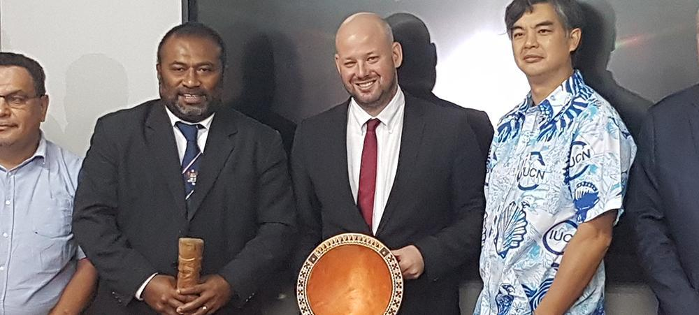Christopher Gygès, alongside Fiji's Health Minister (left) and the Ambassador of France to Suva (Right)