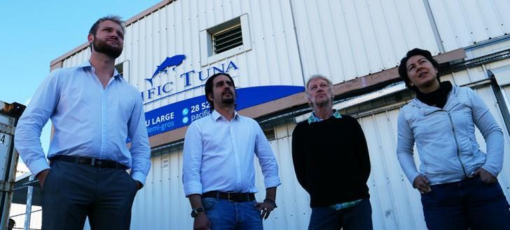 Nicolas Metzdorf, Mario Lopez, directeur de la société Pescana, Florent Pithon, président de la Fédération des pêcheurs hauturiers de Nouvelle-Calédonie, et Jessica Bouyé, directrice d'exploitation de Pacific Tuna.