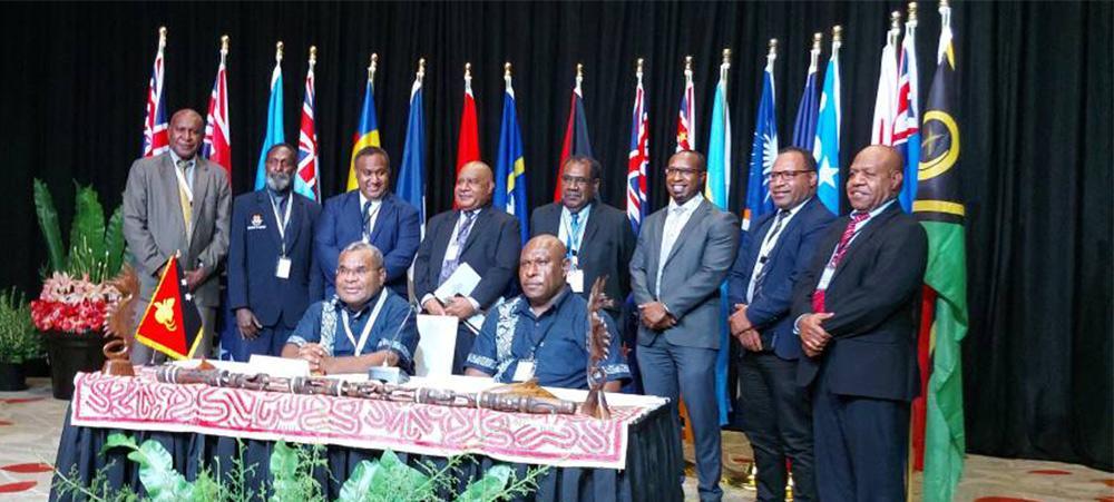 La délégation de Papouasie Nouvelle-Guinée a présidé l'événement depuis Port-Moresby